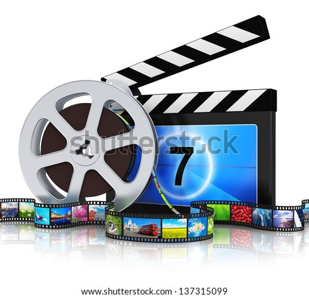 Cinema, movie, film and video media industry production concept: clapper board, metal film reel and filmstrip with colorful pictures isolated on white background with reflection effect