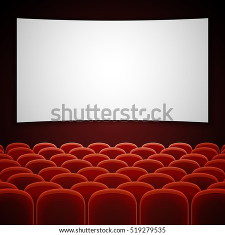 Cinema movie hall with white blank screen empty interior for presentation ne - Sieges de cinema occasion ...