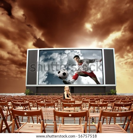 cinema outdoor and  a woman
