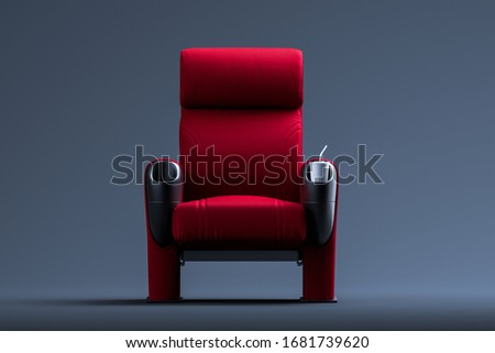 Cinema Red Cozy Seat. Armchair With Comfortable Elbows. 3d Rendering.
