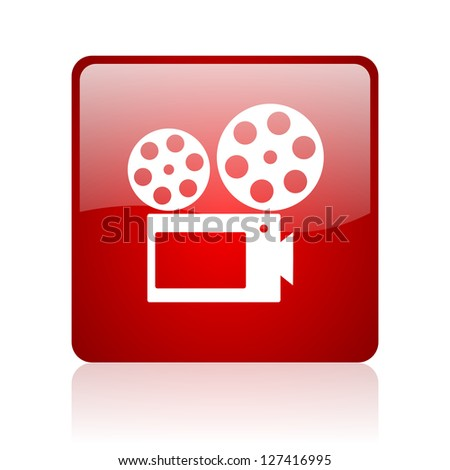 cinema red square glossy web icon on white background