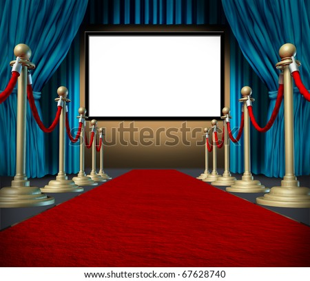 cinema stage blank blue curtains red carpet display - stock photo