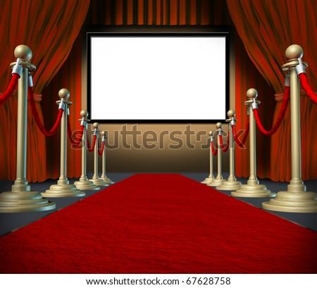 cinema stage blank curtains red carpet display