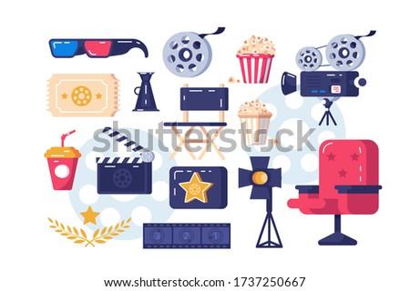 Cinema symbols set illustration. 3d glasses popcorn paper glass cine-film chair palm branch flat style design. Festival concept. Isolated on white