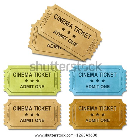 Cinema Ticket, Isolated On White Background