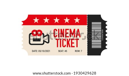 Cinema ticket with barcode icon. Movie ticket template. Realistic cinema theater admission pass mock up coupon. Vintage retro old ticket red and black.
