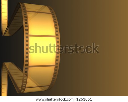 Cinema video film 3D with light effect.