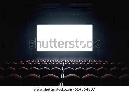 Cinema with blank screen. Mock up, Ad concept, 3D Rendering