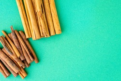 cinnamon and cassia sticks flavoring natural spices on the table serving healthy seasoningng iredient top view copy space for text food background