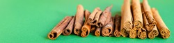 cinnamon and cassia sticks natural spices on the table serving healthy ingredient top view copy space for text food background rustic