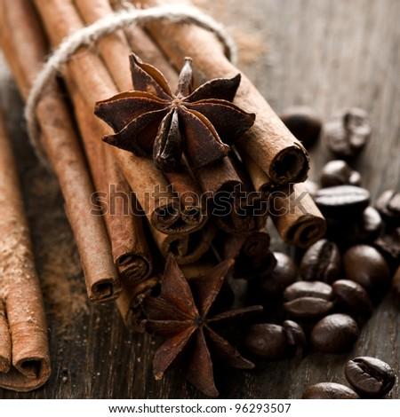 Cinnamon and coffee beans