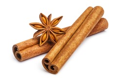 Cinnamon and star anise, isolated on white background