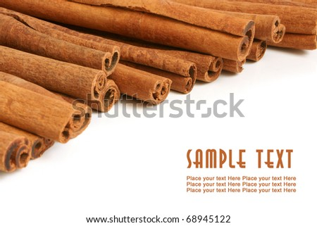 Cinnamon bark on a white background