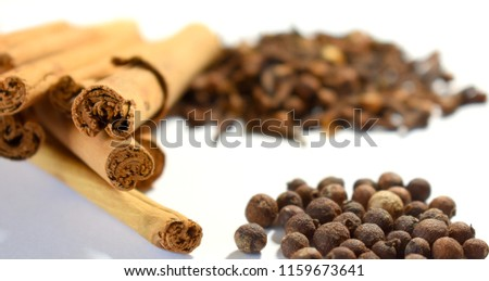 Cinnamon, Cloves and Allspice on White Background #1159673641
