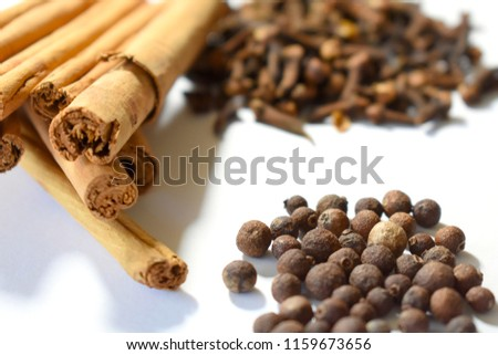 Cinnamon, Cloves and Allspice on White Background #1159673656