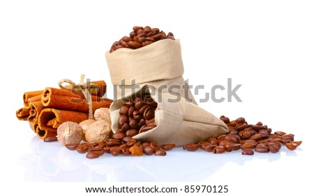 cinnamon, coffee and nutmeg isolated on white