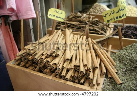 cinnamon on display in local market