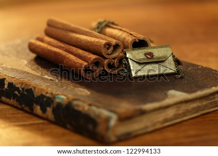 Cinnamon on the old book