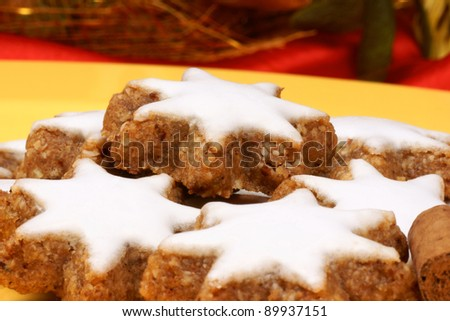 Cookies in german zimtsterne are typical german and swiss christmas
