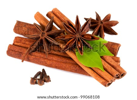 cinnamon sticks and star anise. isolated on a white background