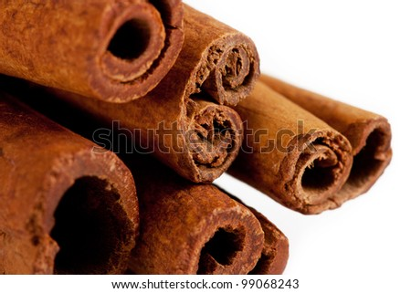 cinnamon sticks close-up. isolated on a white background