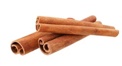 Cinnamon sticks isolated on white background without shadow