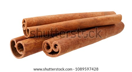 Cinnamon sticks isolated on white background without shadow #1089597428