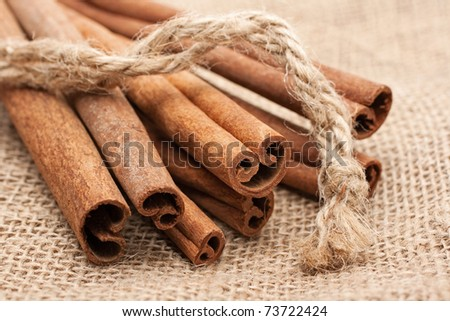 Cinnamon sticks on canvas sack