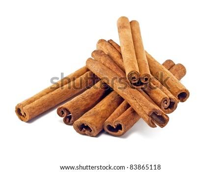 Cinnamon sticks on white background