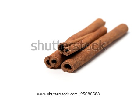 Cinnamon sticks on white background. Close-up view.