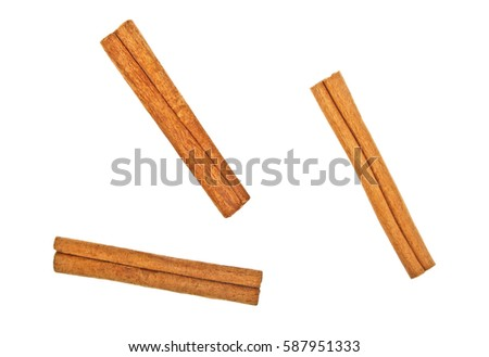 Cinnamon sticks on white background, top view #587951333