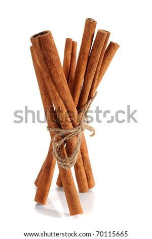 Cinnamon sticks studio isolated on white background