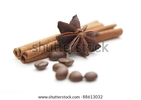 Cinnamon sticks with anise star and coffee beans on white background