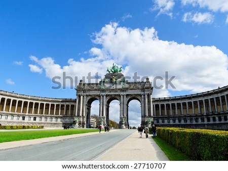 Cinquantennaire Park with The Triumphal Arch in Brussels in spring