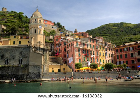 Cinque Terre Fishing Village - stock photo