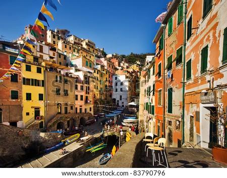 Cinque Terre, Italy. Riomaggiore colorful fishermen village.