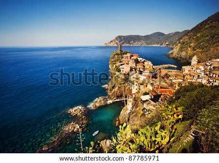 Cinque Terre, Italy. Vernazza fishermen village panoramic, view from the famous hiking trail.