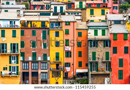Cinque terre narrow house style in Liguria, Italy