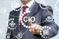 CIO or chief information officer concept presented by businessman touching on virtual screen. career in IT information technology officer to administrator staff. Chief Investment Officer acronym.