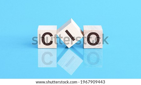 cio word written on wood block. cif word is made of wooden building blocks lying on the blue table, business concept. cio short for chief information officer or chief investment officer Foto stock ©