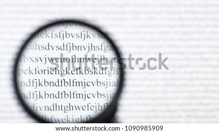 Cipher encryption code or data. Reading word data encrypt with magnifying glass