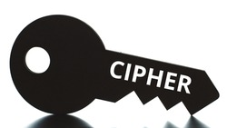CIPHER text on the key silhouette