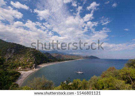 Cirali Bay. The ruined city of Olympos. Lycian trail. View of the coast. Mediterranean Sea. The coast of the Mediterranean Sea. #1546801121