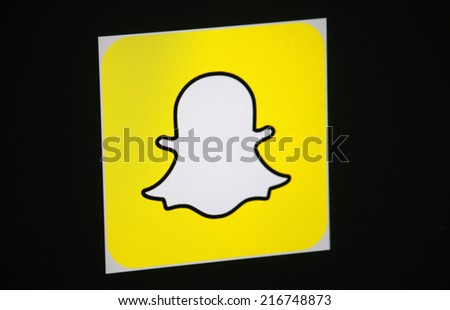 CIRCA AUGUST 2014 BERLIN the logo of the brand Snapchat Berlin