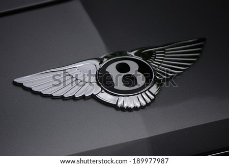 CIRCA MARCH 2014 BERLIN the logo of the a Bentley luxury car Berlin