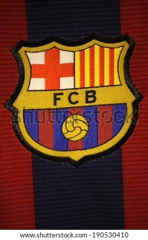 CIRCA MARCH 2014 BERLIN the logo of the soccer club FC Barcelona on an official jersey of the club Berlin
