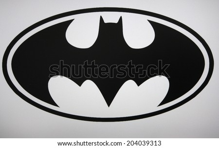 "CIRCA MAY 2014 - BERLIN: the logo of the superhero comic figure ""Batman"". - stock photo"