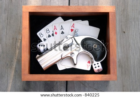 """Circa 1889, Model 95, Type II Model 3 Double Derringer in its wooden display box on black velvet with aces and eights aka a """"Dead Mans Hand"""" and dice showing 9"""
