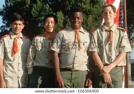 CIRCA 1993 - Multi-cultural group of Boy Scouts at Veteran's Cemetery, Los Angeles, California
