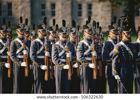 CIRCA 1999 - Soldiers standing at attention, West Point Military Academy